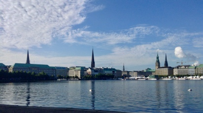 the many steeples of Hamburg are the iconic skyline of the city