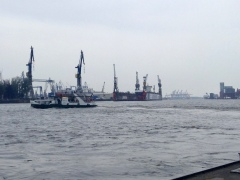 The second iconic site of Hamburg is the massive cranes loading and unloading the cargo ships.