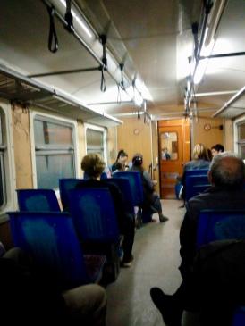 on the rickety train