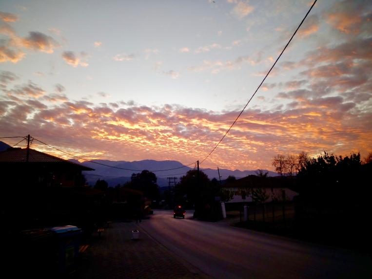 sunset on the walk to Kalabaka!